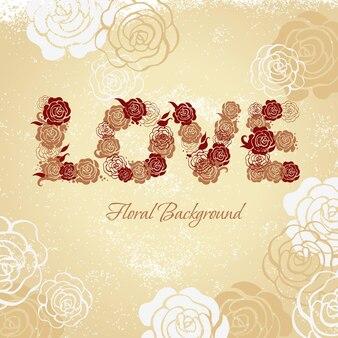 Sfondo floreale con rose e lettere d'amore