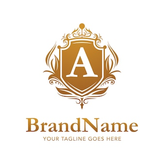 Modello di vettore di logo di lusso oro distintivo floreale