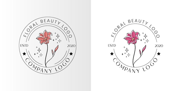 Bellezza floreale logo femminile per spa salone di bellezza e boutique e attività cosmetica