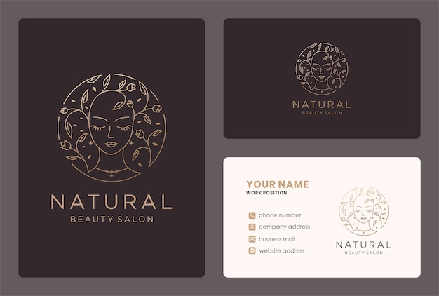 Stile monogramma logo bellezza floreale con design biglietto da visita.