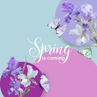 Banner floreale primaverile con fiori di iris viola e farfalle