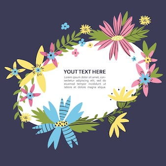 Boarder floreale con fiori disegnati a mano. luogo della corona di fiori di campo per il tuo testo. cornice di testo doodle colorato per poster, articolo, invito, baby shower, carta.