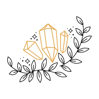 Corona di composizione floreale boho contorno con pietre preziose, stelle, foglie di rami. elementi grafici celesti con piante. illustrazione di doodle di vettore di astrologia mistica. design per carta, poster, invito