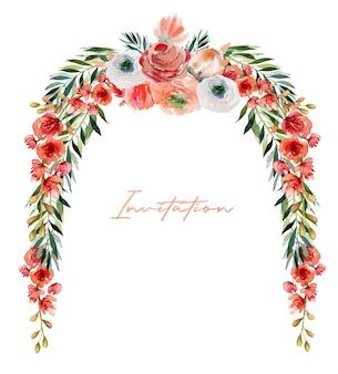 Bordo floreale di fiori di rose rosse e bianche dell'acquerello, fiori di campo, vegetazione e rami verdi