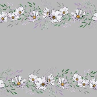 Bordo floreale con fiori e foglie bianchi.