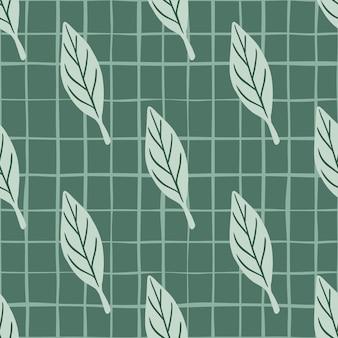 Motivo floreale botanico senza cuciture con stampa di sagome di foglie semplici doodle