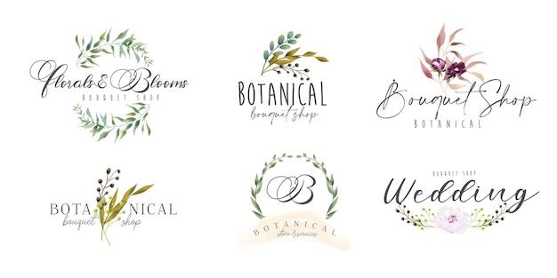 Collezione di logo botanico e femminile floreale