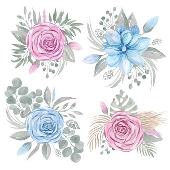 Raccolta di clipart di disposizione di bouquet floreale. set di fiori rosa magnolia verde