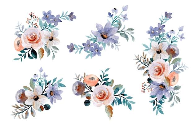 Collezione bouquet floreale con acquerello