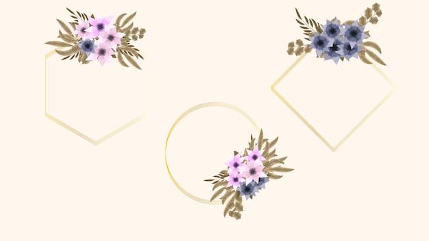 Bouquet floreale cornice fiori vintage biglietto di auguri matrimonio social