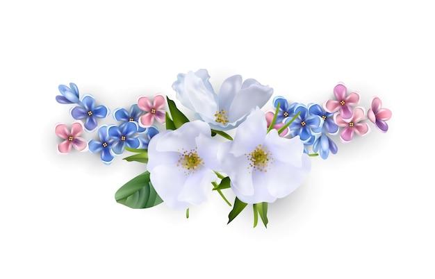 Bouquet floreale isolato su bianco