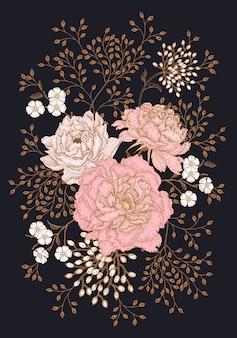 Bouquet floreale di peonie con foglie