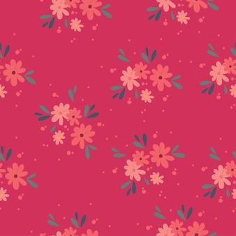 Motivo vettoriale bouquet floreale con piccoli fiori e foglie