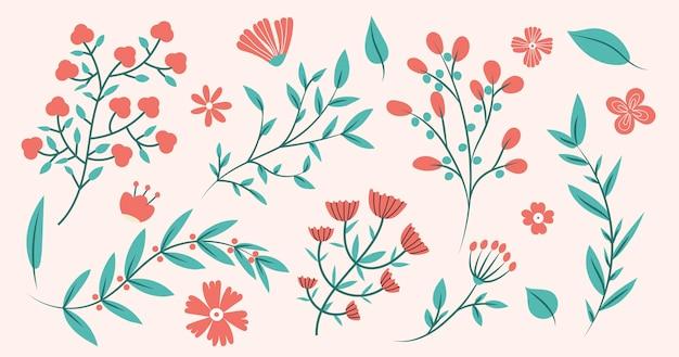 Collezione di rami floreali Vettore Premium