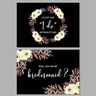 Modello di biglietto d'auguri floreale damigella d'onore con bouquet di anemone
