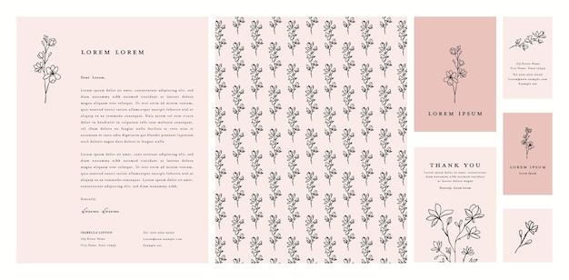 Collezione di cancelleria per l'identità aziendale floreale con carta intestata biglietto di ringraziamento e biglietto da visita