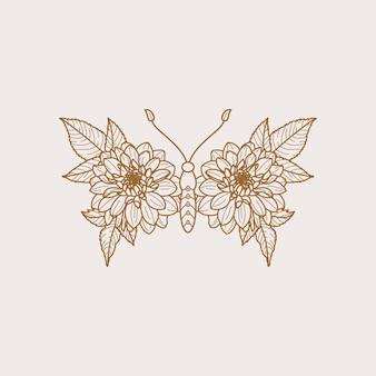 Icona della farfalla floreale in uno stile alla moda minimalista lineare. contorno vettoriale emblema di ali con fiori per la creazione di loghi di saloni di bellezza, manicure, massaggi, spa, gioielli, tatuaggi e fatti a mano.