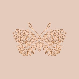 Icona della farfalla floreale in uno stile alla moda minimalista lineare. schema vettoriale emblema di ali con fiori per la creazione di loghi di saloni di bellezza, massaggi, spa e stampa di t-shirt, poster