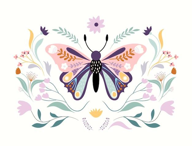 Farfalla floreale isolata su bianco