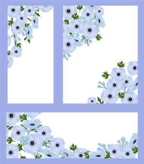 Set di carte floreali, illustrazione vettoriale. design del modello grafico con natura decorativa, invito a nozze con fiore estivo, collezione.