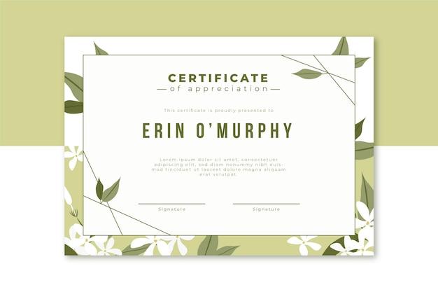 Modello di certificato floreale