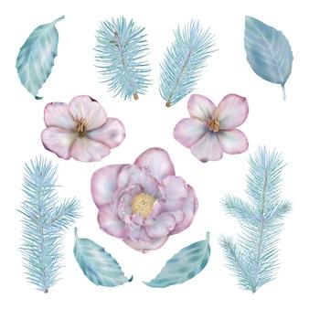 Insieme floreale della decorazione di natale