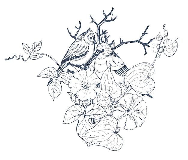 Composizione floreale. bouquet con fiori, piante e uccelli disegnati a mano. illustrazione monocromatica nello stile di abbozzo.