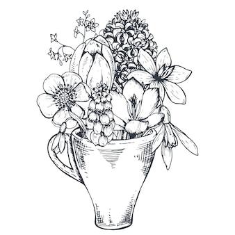 Composizione floreale. bouquet con piante e fiori primaverili disegnati a mano. monocromo