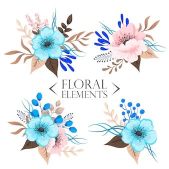Composizione floreale con fiore colorato.