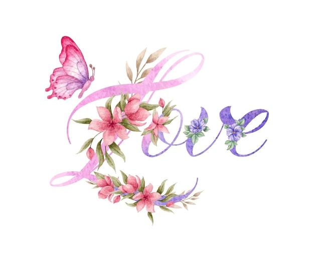 Decorazione floreale d'amore con bellissima farfalla