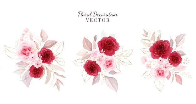 Set di decorazioni floreali. illustrazione di disposizioni botaniche delle rose rosse e della pesca con le foglie, ramo.
