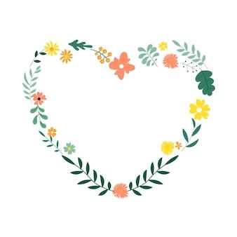 Cuore decorativo floreale da foglie e fiori per biglietti e inviti