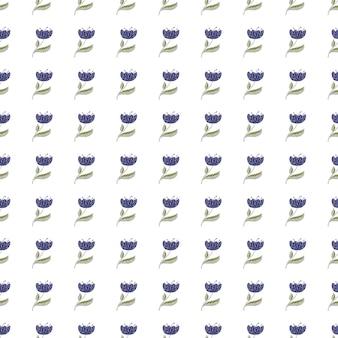 Motivo decorativo floreale senza cuciture con stampa di piccoli fiori di papavero blu isolati blue