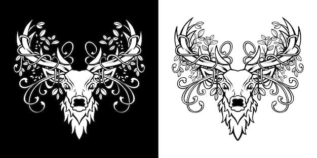 Set di illustrazioni floreali con testa di cervo