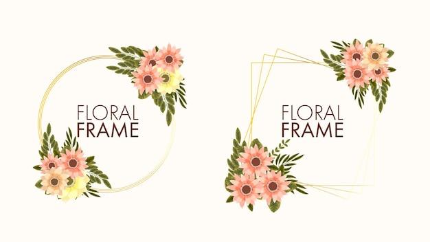 Cornici per composizioni floreali di fiori rampicanti per biglietti di auguri per matrimoni sui social media web