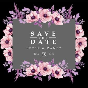 Modello editabile della scheda di invito per eventi di matrimonio digitale floreale