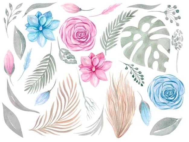 Elemento floreale clipart. collezione boho. set di fiori rosa magnolia verde