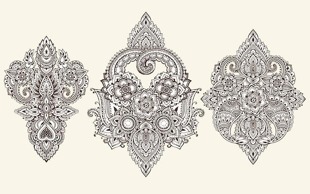 Elementi floreali basati su ornamenti asiatici tradizionali. paisley mehndi