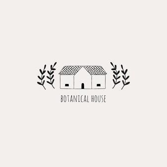 Logo floreale femminile disegnato a mano con casa e piante