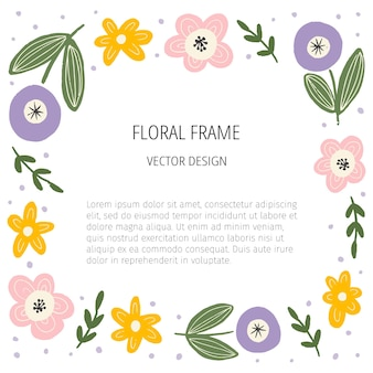 Modello di cornice piatta floreale con spazio di testo. confine di fiori e foglie disegnati a mano.