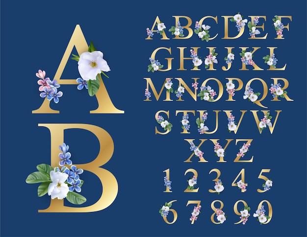Carattere floreale matrimonio iniziali di alfabeto