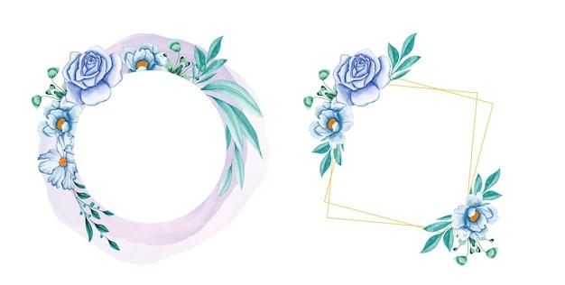 Composizioni floreali con foglie e fiori blu morbidi