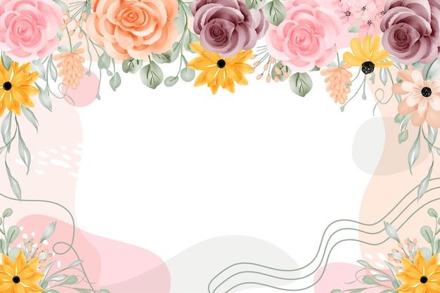 Astratto sfondo cornice floreale con spazio bianco