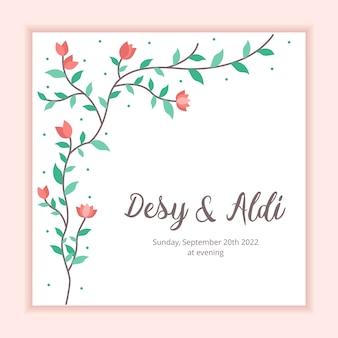 Modello di nozze del fondo floreale della struttura per l'invito