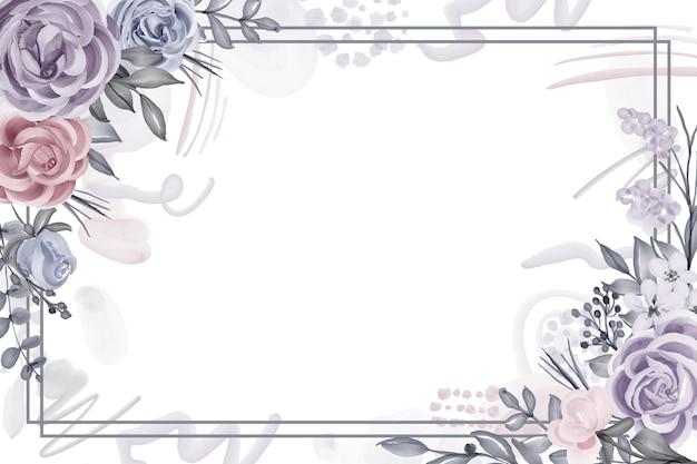 Sfondo cornice floreale inverno con fiore rosa e foglie