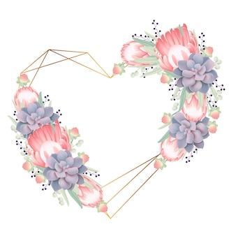 Sfondo cornice floreale con fiore di protea e succulente