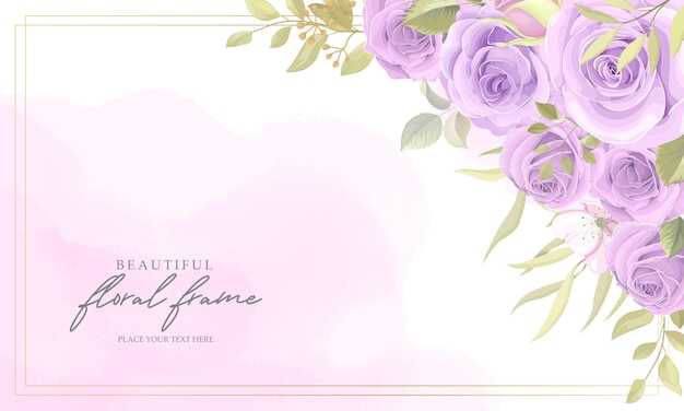 Sfondo cornice floreale con rose viola