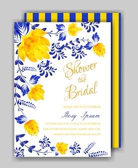 Invito per la doccia nuziale con cornice floreale o carta weedding
