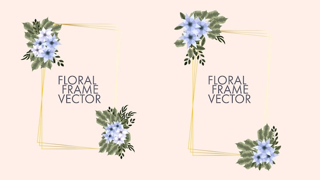 Modello di carta con cornice floreale con etichetta di fiori per invito a nozze