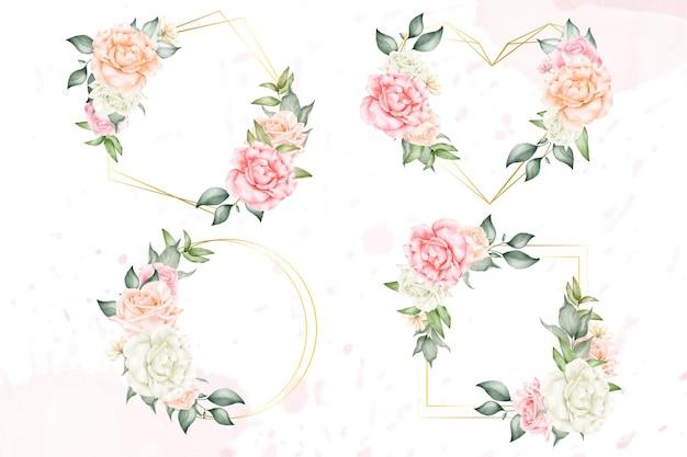 Modello di raccolta cornice floreale